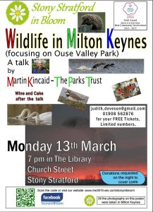 Poster - Wildlife in Milton Keynes talk 13 March 2017