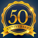 50th anniversary celebration badge label in golden color